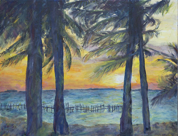 Palm Art Print featuring the painting Sunset At Buho's by Nick Vogel