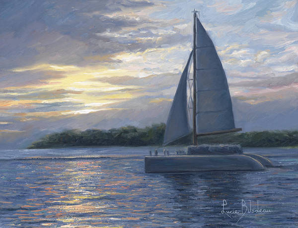 Sailboat Print featuring the painting Sunset In Key West by Lucie Bilodeau
