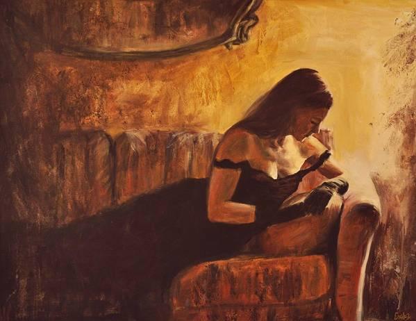 Nude Art Print featuring the painting Tacere by Escha Van den bogerd