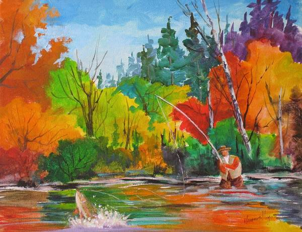 Fall Art Print featuring the painting The Big One by Mohamed Hirji