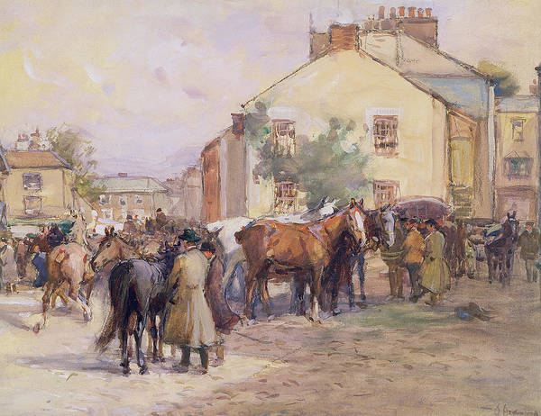 Horse Art Print featuring the painting The Horse Fair by John Atkinson