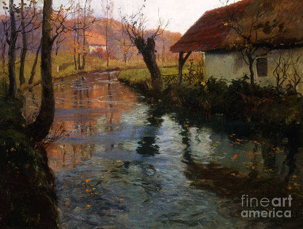 Mill; Stream; River; House; Thatched; Cottage; Bend; Reflection; Reflections; Ripple; Ripples; Water; Autumn; Autumnal; Dusk; Evening; Sunset; Atmospheric; Idyllic; Rural; Countryside; Fall Art Print featuring the painting The Mill Stream by Fritz Thaulow