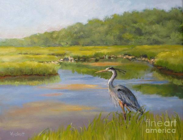 Blue Heron Art Print featuring the painting The Millway Marsh by Karol Wyckoff