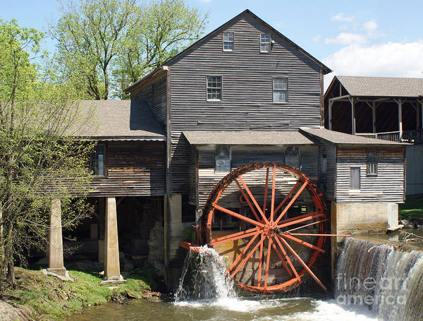 Smoky Mountains Print featuring the photograph The Old Mill In Pigeon Forge by Roger Potts