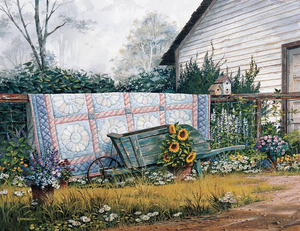 Michael Humphries Art Print featuring the painting The Old Quilt by Michael Humphries