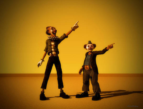 Clowns Art Print featuring the digital art The Only Way by Ramon Martinez