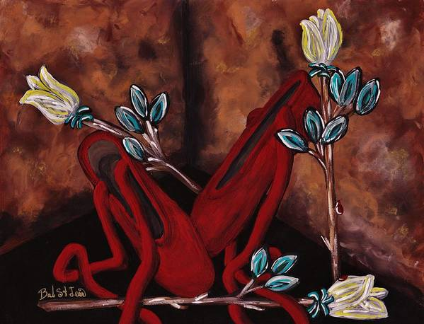 The Red Shoes Art Print featuring the painting The Red Shoes by Barbara St Jean