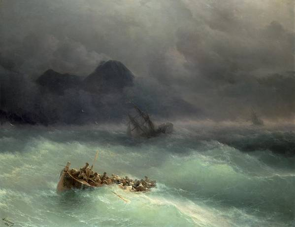 Storm Print featuring the painting The Shipwreck by Ivan Konstantinovich Aivazovsky
