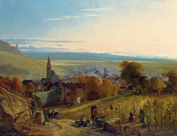 The Travellers Print featuring the painting The Travellers by Christian Ernst Bernhard Morgenstern