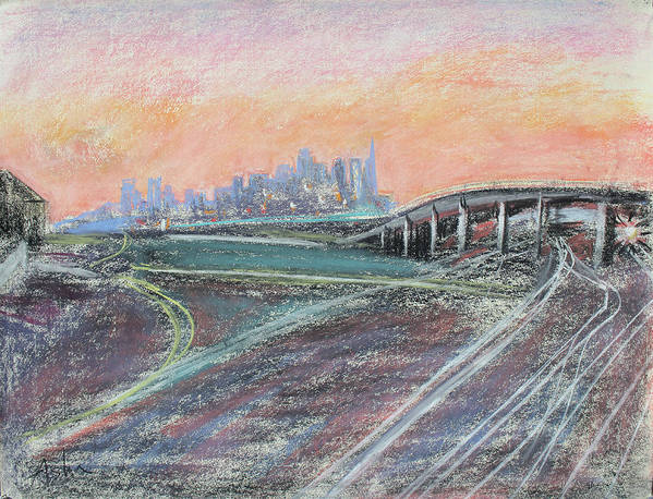 Industrial Pastel Painting; Urban Pastel Painting; Asha Carolyn Young Painting; Train Coming; West Oakland Print featuring the painting Train Coming At Sunset In West Oakland by Asha Carolyn Young