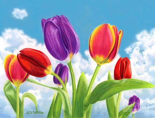 Tulips Art Print featuring the painting Tulip Garden by Sarah Batalka