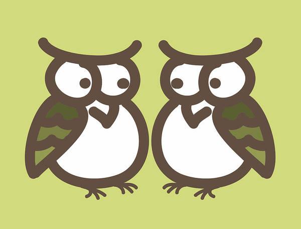 Twin Art Print featuring the digital art Twin Owl Babies- Nursery Wall Art by Nursery Art
