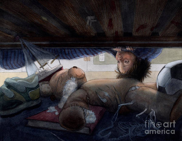 Boy Art Print featuring the painting Under The Bed by Isabella Kung