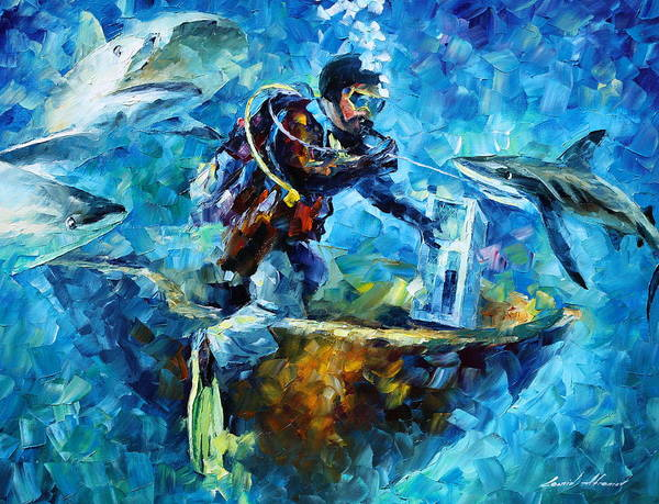 Shark Art Print featuring the painting Under Water by Leonid Afremov
