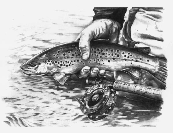 Flyfishing Print featuring the drawing Until Another Day by Mike Worthen