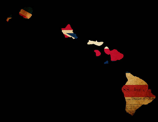 Map Art Print featuring the photograph Usa American Hawaii State Map Outline With Grunge Effect Flag In by Matthew Gibson