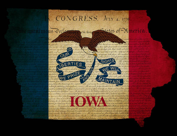 Usa Art Print featuring the photograph Usa American Iowa State Map Outline With Grunge Effect Flag And by Matthew Gibson