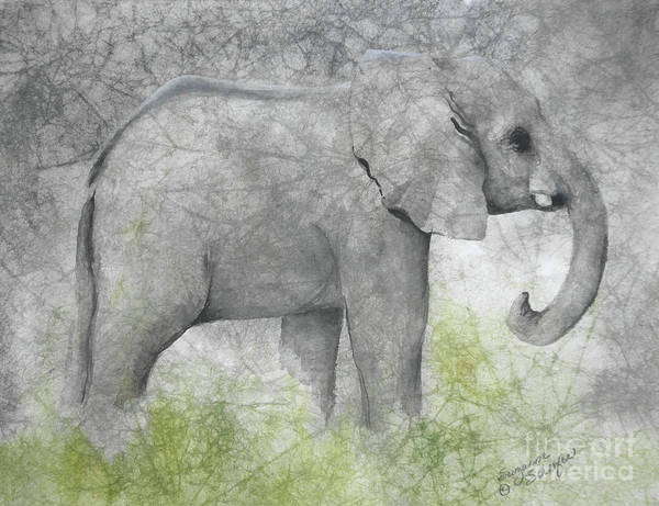 Elephant Art Print featuring the painting Vanishing Thunder Series-baby Elephant II by Suzanne Schaefer