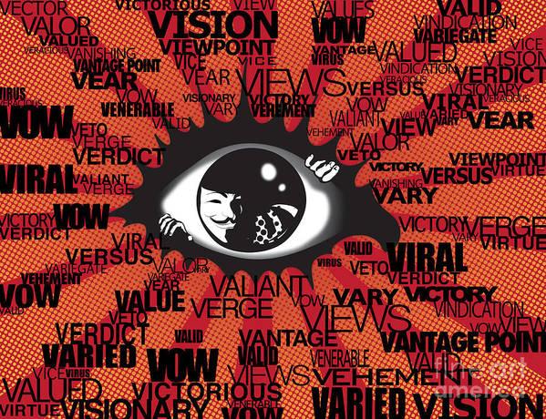 Eye Art Print featuring the digital art Vendetta Typography by Sassan Filsoof