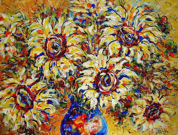 Flowers Art Print featuring the painting Vibrant Sunflower Essence by Natalie Holland
