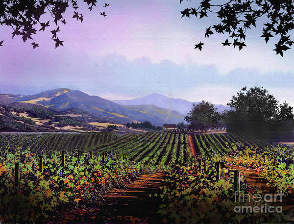 Vineyard Print featuring the painting Vineyard Napa Sonoma by Robert Foster
