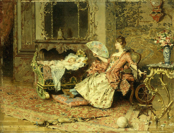 Watching; Baby; Mother; Child; Infant; Cot; Cradle; Maternal; Love; Fan; Seated; Grand; Interior; Grandiose; Rococo; Wealth; Relaxed; Relaxing; Ornate; Child; Children; 19th; Rest; Motherly Art Print featuring the painting Watching The Baby by Edouard Toudouze