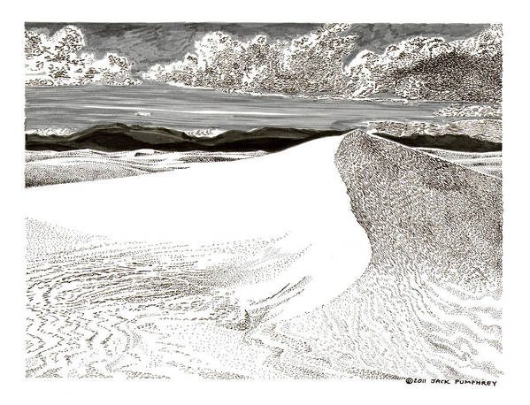 Framed Prints And Note Cards Of Ink Drawings Of Scenic Southern New Mexico. Framed Canvas Prints Of Pen And Ink Images Of Southern New Mexico. Black And White Art Of Southern New Mexico Art Print featuring the drawing White Sands New Mexico by Jack Pumphrey