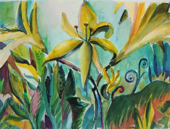 Lily Art Print featuring the painting Yellow Day Lilies by Mindy Newman