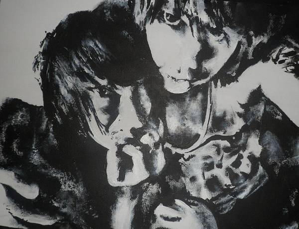 Black Print featuring the painting Young Lovers by Cherise Foster