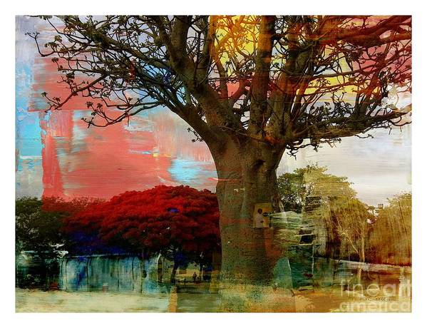 Fania Simon Art Print featuring the mixed media Baobab by Fania Simon