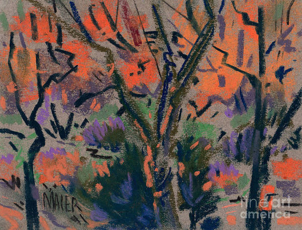 Autumn Art Print featuring the painting Backyard In Autumn by Donald Maier