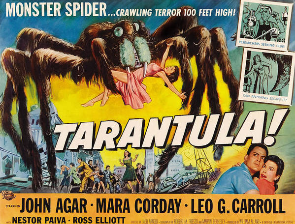 1950s Poster Art Art Print featuring the photograph Tarantula, John Agar, Mara Corday, 1955 by Everett