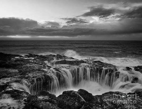 Black And White Photography Art Print featuring the photograph Thor's Well by Keith Kapple