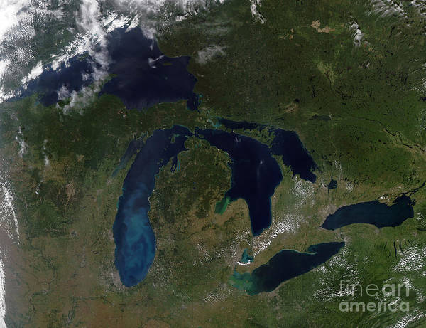 Color Image Art Print featuring the photograph Satellite View Of The Great Lakes by Stocktrek Images