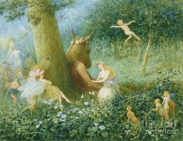 A Midsummer Night's Dream Art Print featuring the painting A Midsummer Night's Dream by HT Green