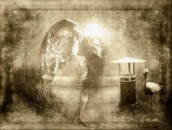Angel Art Print featuring the digital art Angel Spirit Sepia by Yvon van der Wijk