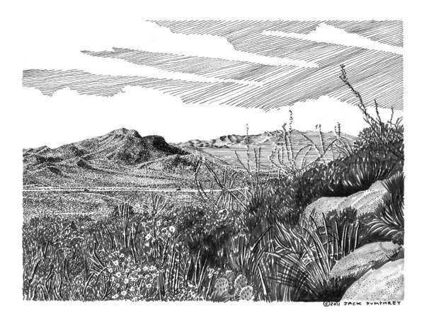 Framed Prints And Note Cards Of Ink Drawings Of Scenic Southern New Mexico. Framed Canvas Prints Of Pen And Ink Images Of Southern New Mexico. Black And White Art Of Southern New Mexico Art Print featuring the drawing Anthony Gap New Mexico Texas by Jack Pumphrey