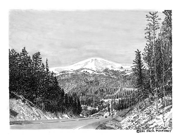 Framed Prints And Note Cards Of Ink Drawings Of Scenic Southern New Mexico Framed Canvas Prints Of Pen And Ink Images Of Southern New Mexico Art Print featuring the drawing Apache Summit Siera Blanco by Jack Pumphrey