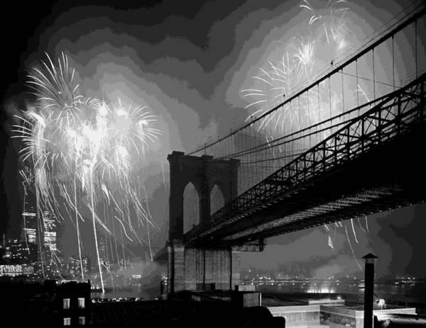 New York Art Print featuring the photograph Brooklyn Bridge Fireworks Bw16 by Scott Kelley