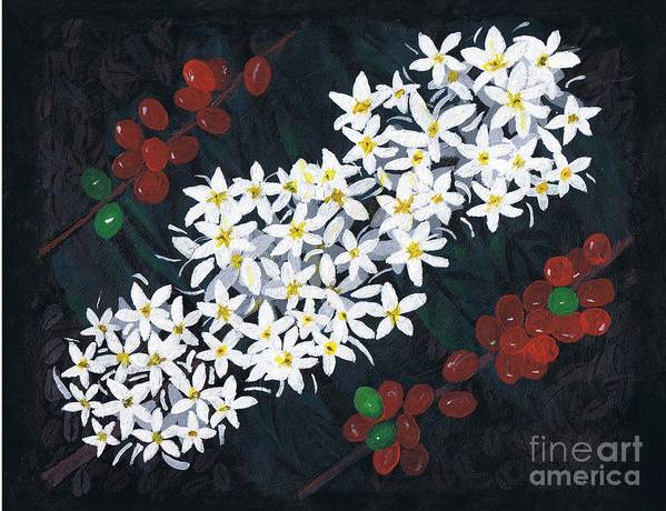 coffee Flowers Art Print featuring the painting Coffee Flowers by Teri Naomi