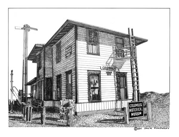 Framed Prints And Note Cards Of Ink Drawings Of Scenic Southern New Mexico. Framed Canvas Prints Of Pen And Ink Images Of Southern New Mexico. Black And White Art Of Southern New Mexico Art Print featuring the drawing Columbus New Mexico by Jack Pumphrey