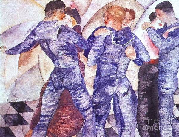 Pd Art Print featuring the painting Dancing Sailors by Pg Reproductions