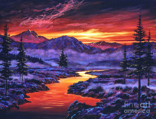 Landscape Print featuring the painting Early Morning Frost by David Lloyd Glover