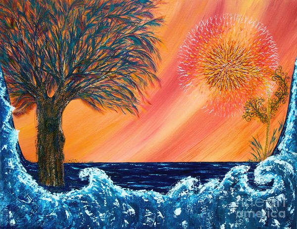 Sky Art Print featuring the painting Europa Tsunami by Pm Ernst