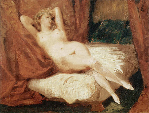 Eugene Delacroix Art Print featuring the painting Female Nude Reclining On A Divan by Eugene Delacroix