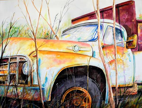Truck Art Print featuring the painting Forgotten Truck by Scott Nelson