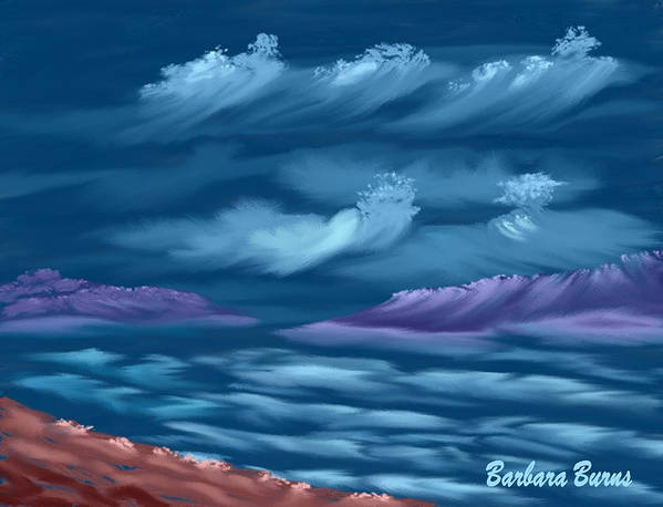 Seascape Art Print featuring the digital art Ghost Sisters Cove by Barbara Burns