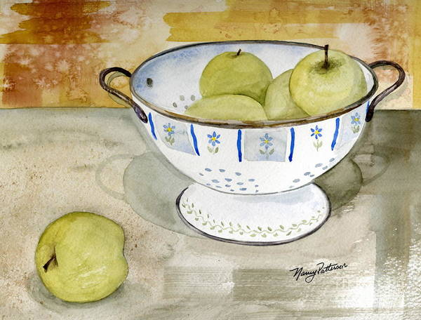 Yellow Apples Art Print featuring the painting Golden Apples by Nancy Patterson