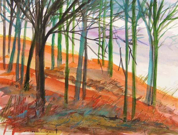 Trees Art Print featuring the painting Green And Blue Trees by John Williams