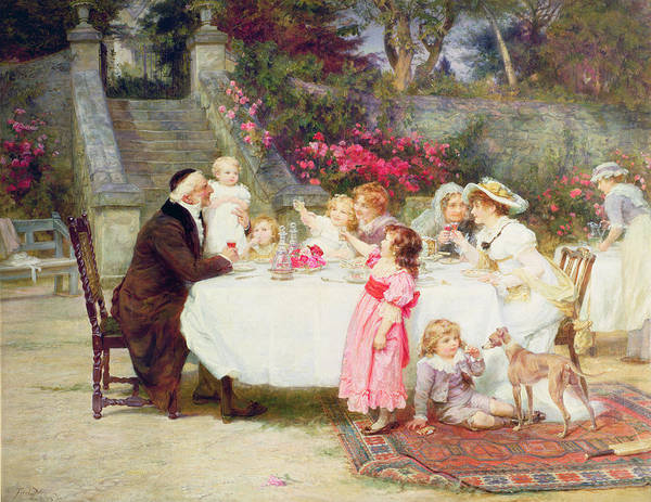 Quaint Art Print featuring the painting His First Birthday by Frederick Morgan